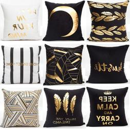 Gold Shining Printed Polyester Pillow Case Sofa Throw Cushio