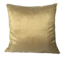 The White Petals Set of 2 Gold Art Silk Pillow Covers, Plain