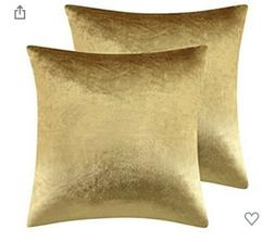Gold Velvet Decorative Throw Pillow Covers 18x18 2 Pack
