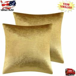 Gold Velvet Decorative Throw Pillow Covers Cases for Sofa Be
