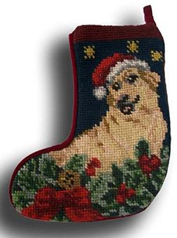 Golden Retriever German Shepherd Stocking Xmas Needlepoint P