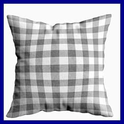 Gray & WHITE Gingham Check Pattern Decorative Cushions Case