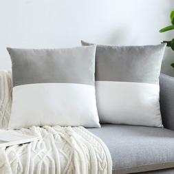 Gray Throw Pillow Covers Sofa Bed Cushion Cover Soft Velvet