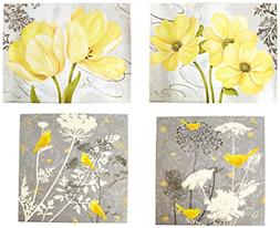 Gray yellow Wall Home Decor Picture 4 Piece 12x12in And 14x1