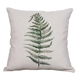 Green Fern Leaf Throw Pillow Covers Decorative Cushion Cover