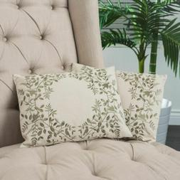 18-inch Beige Green Leaf Embroidered Throw Pillows