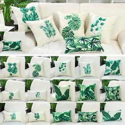 Green Leaves Throw Pillow Cover Cotton Pattern Cushion Cover