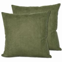 Green Microsuede Throw Pillows  - Stuffed with Duck Down and