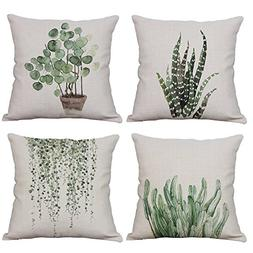 YeeJu Set of 4 Green Plant Throw Pillow Covers Decorative Co