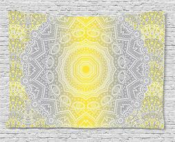 Grey and Yellow Tapestry Boho Ombre Old Print Wall Hanging D