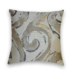 Grey Beige Gold Abstract Decorative Throw Pillow Cover
