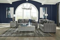GREY CHENILLE CHANNELED SIDES SOFA & LOVE SEAT LIVING ROOM F