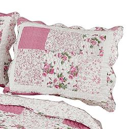 Hadley Floral Patchwork Quilted Pillow Sham, Rose, Sham