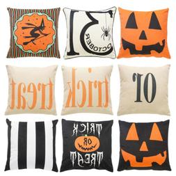 Halloween Pumpkin Trick Treat Linen Sofa Pillow Case Throw C