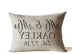 Amore Beaute Handcrafted Decorative Pillow Cover Mr Mrs Thro