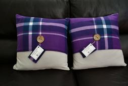 Handcrafted Purple Plaid Throw Pillow Set - 18in x 18in