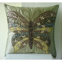 Handmade Olive Green Pillow Cases, Butterfly Theme Sequins a