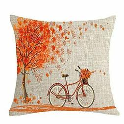 FELENIW Happy Autumn Fall Big Tree Maple Leaf Bicycle Throw