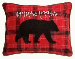 Carstens Happy Camper w Black Bear Pillow Red Plaid Wool Ble