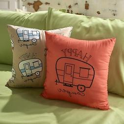 Happy Campers Embroidered Throw Pillows with Retro Trailer -