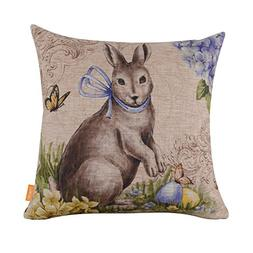 """LINKWELL 18"""" by 18"""" Happy Easter Retro Smile Rabbit Color Eg"""