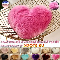 Heart Shaped Faux Fur Plush Soft Pillow Cover For Sofa Livin