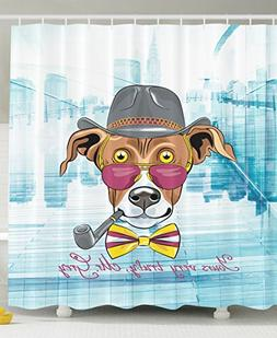 Hipster Greyhound Dog Hat Glasses Bow Tie Tobacco Pipe Dog C
