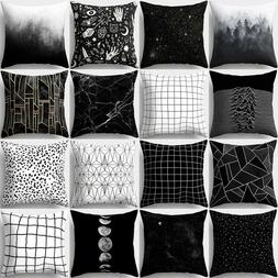 HK- Black and White Geometric Throw Pillow Case Square Cushi