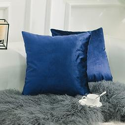 HOME BRILLIANT Set of 2 Deluxe Velvet Decorative Pillowcases