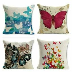 Home Decor Butterfly Cushion Cover Pattern Pillow Case Linen