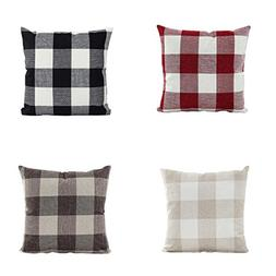 BPFY 4 Pack Home Decor Plaid Sofa Throw Pillow Case Cushion