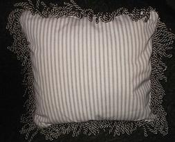 Home Handmade  Fringed Striped Decorative Throw Pillow Khaki