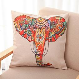 HomeTextilesArt Bright Color Flower Elephant Burlap Pillow C