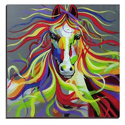 3Hdeko-Horse Oil Painting on Canvas 30x30inch Colorful Wild