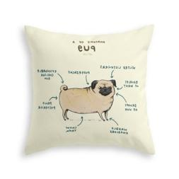 Hot Fiber A Pug Cute Puppy Cotton Throw Pillow Case Cushion