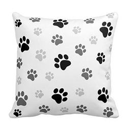 "YOUHOME 18"" X 18"" Inch Paw Prints Pillow Case Black And Whit"