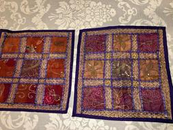 "India Patchwork Throw Pillow Covers Set of 2 17"" Square Purp"