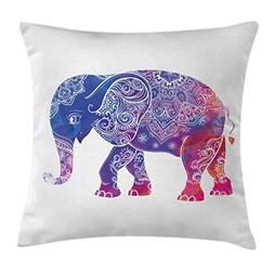 Indian Decor Throw Pillow Cushion Cover by Ambesonne, Ethnic