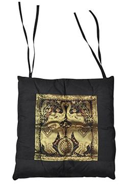 Indian Elephant Work Designer Chair Cushion With Ties 15 x 1