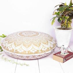 Indian Golden White Mandala Throw Decorative Floor Pillow Cu