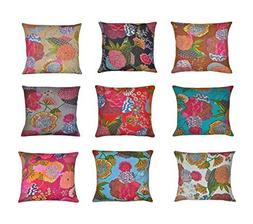 Indian kantha Throw Cushion Cover,Indian Home Decor Pillow C
