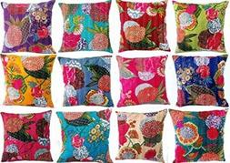 NANDNANDINI - Indian kantha Throw Cushion Cover,Indian Home