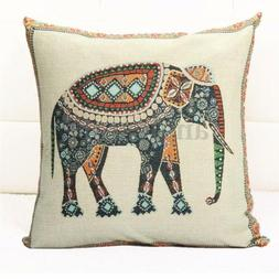 Indian Knitted Elephant Cotton Linen Throw Pillow Case Cushi