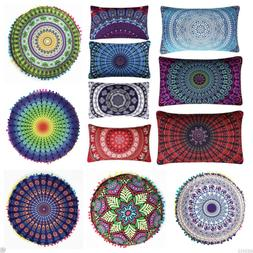 Indian Mandala Print Floor Pillow Throw Case Round Boho Cush