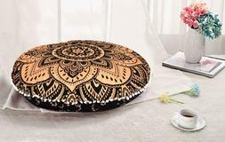 Indian Mandala Round Cushion Cover Floor Pillow Bohemian Thr