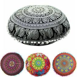 Indian Mandala Round Floor Sofa Pillow Boho Meditation Throw