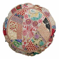 "Indian Round Vintage Floor Pillow 22"" Patchwork Cushion Cove"