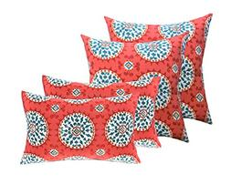 """Set of 4 Indoor / Outdoor Pillows - 17"""" Square Throw Pillows"""