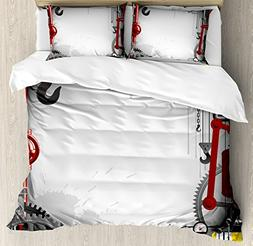 Industrial Decor King Size Duvet Cover Set by Ambesonne, Eng