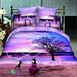 The Ink painting Lotus Beach Dance Home Textile 3d Bedding S